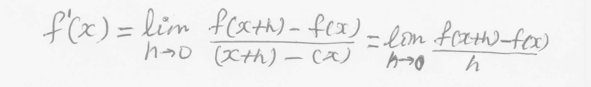 Definition for Derivative of Functions