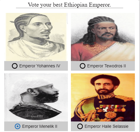 Vote for Ethiopian Emperors